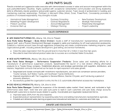 Parts Of A Resume Auto Parts Manager Resume Examples Sample Template Spare Gm 75