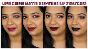 hey guys today i am sharing lime crime matte velvetine lip swatches on indian skin tone i have um tan skin tone with dark pigmented lips