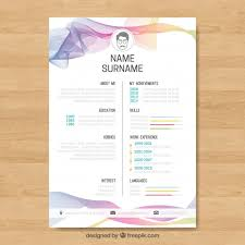 curriculum template abstract curriculum template with colorful waves vector free download