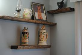 ... Contemporary Home Decoration With Thick Wood Shelves : Modern Home Wall  Decoration Design With Light Grey ...
