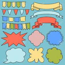 Blank Birthday Banner Colorful Vector Banners Ribbons And Flags Blank Cartoon Text