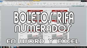 Boletos Rifa Numerados Word Excel Youtube