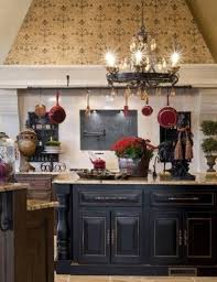 black round french country style chandeliers for kitchen with white wall interior color and wooden cabinet painted with black color and marble countertop