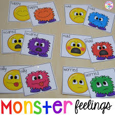 Visual Feelings Chart Free Monster Feeling Cards Games For Preschool Pre K