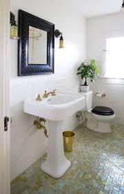 vintage bathroom pedestal sinks. Amazing Vintage Bathroom With Mosaic Glass Tile Floor, Glossy White Pedestal Sink, Black Mirror And Subway Backsplash. Sinks A