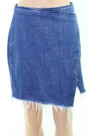 Details About Madewell New Blue Womens Size 4 Denim Raw Hem Mini Faux Wrap Skirt 79 949