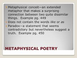 metaphysical poetry pg john donne is best known met poet  2 metaphysical poetry metaphysical