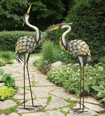 grey heron pair metal garden statues