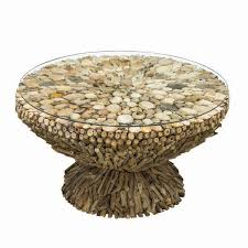 driftwood round coffee table glass top
