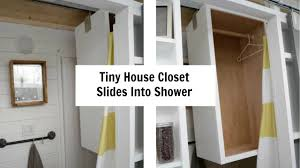 tiny house closet slides from shower to over toilet