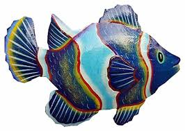hand chiseled and painted tropical metal art wall decor fish b06xjh2bww