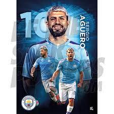 Aguero A3 Man City FC 19/20 Action Poster
