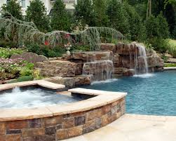 luxury backyard pool designs. Backyard Natural Spa And Swimming Pool Waterfall Design Ideas Mahwah New Jersey Luxury Designs