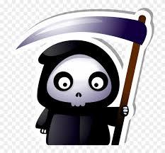 cute grim reaper with scythe sticker