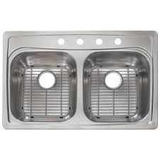 deep stainless steel sink. Drop-In Stainless Steel 33 In. 4-Hole Double Bowl Deep Kitchen Sink