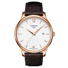 tradition rose gold watch w brown leather strap