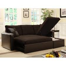 Modern Black Microfibers Futon Beds With Storage with Sofa with ...