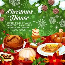 christmas dinner poster christmas dinner greeting poster with stock vector colourbox