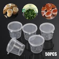 <b>50Pcs Disposable</b> 25/30/<b>40ml</b> With Hinged Lids Takeaway Sauce ...