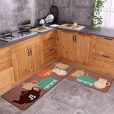 carvapet 2 piece non slip kitchen mat rubber backing doormat runner rug set pots