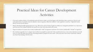 chapter promoting educational and career planning in schools practical ideas for career development activities give each student a letter of the alphabet and ask