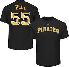 Bell Men's Pittsburgh Majestic T-shirt Pirates Black Josh 55