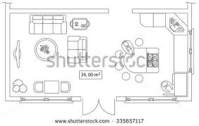 floor plan furniture vector. Architectural Set Of Furniture. Design Elements For Floor Plan, Premises. Thin Lines Icons Plan Furniture Vector T