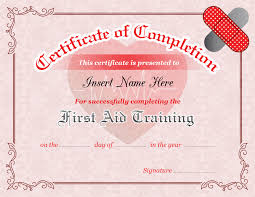 Certificate Of Training Completion Template First Aid Training Completion Certificate Template Formal