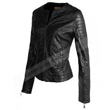 womens biker vintage black quilted faux leather jacket