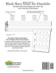 Amazon Com Blank Sheet Music For Mandolin 100 Blank Manuscript