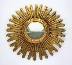 gold sunburst mirror. Vintage Golden Sunburst Mirror, 1960s Gold Mirror