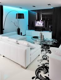 White On White Living Room Decorating Black And White Graphic Decor
