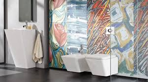 a modern bathroom featuring arts reverie porcel thin art collection digitally printed ultra thin