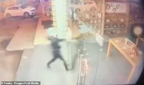 the suspect even risked seriously injuring himself by running through the s glass doors