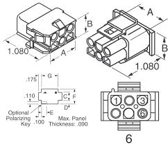 Amazon molex 1 plete set 6 circuit w 14 20 awg wire connector 2 13mm d latch lock mlx industrial scientific