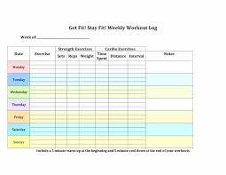 Weekly Exercise Planner Template Lupark Co