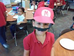 mario hat and mustache made from cardstock paper