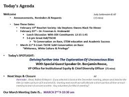 SoM Inclusion Council February 1, Today's Agenda Welcome Judy Seidenstein &  All Announcements, Reminders & Requests (15 mins) Announcements, Reminders.  - ppt download