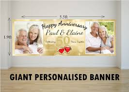 happy anniversary banners personalised giant large 50th golden wedding anniversary photo