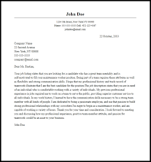 Cover Letters Examples For Maintenance Free Maintenance Technician