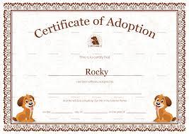 Pet Adoption Certificate Template Pet Adoption Certificate Template