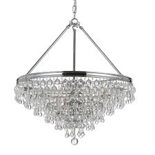 6 light vibrant bronze transitional chandelier dd in clear glass drops