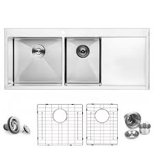Bai 1235 Handmade 48 Inch Top Mount Double Bowl With Drainboard 16