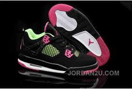 Get Nike Air Jordan Iv 4 Retro Womens Shoes Black Green Pink Special