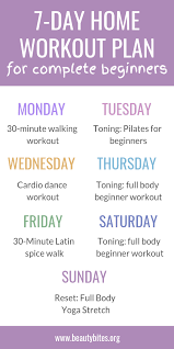 7 Day At Home Workout Plan For Complete Beginners Beauty Bites