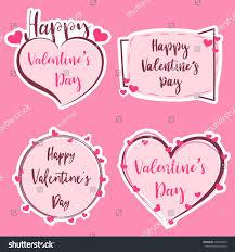 cute sticker happy valentine s day banner valentine art heart and shape badge label