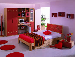 Bedroom. Purple Wall Theme And Brown Wooden Bed On Purple Floor Connected  By Red Wooden