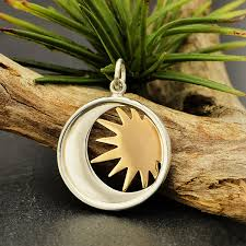 sterling silver moon charm in a disk