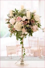Candelabra centrepiece - wedding table arrangement - blush pink and ivory  flowers