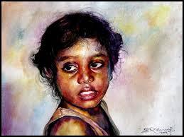 village children 3 painting by artist srv artist watercolor handmade paper